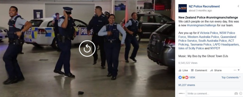 New Zealand Police Recruitment Running Man Challenge social media marketing